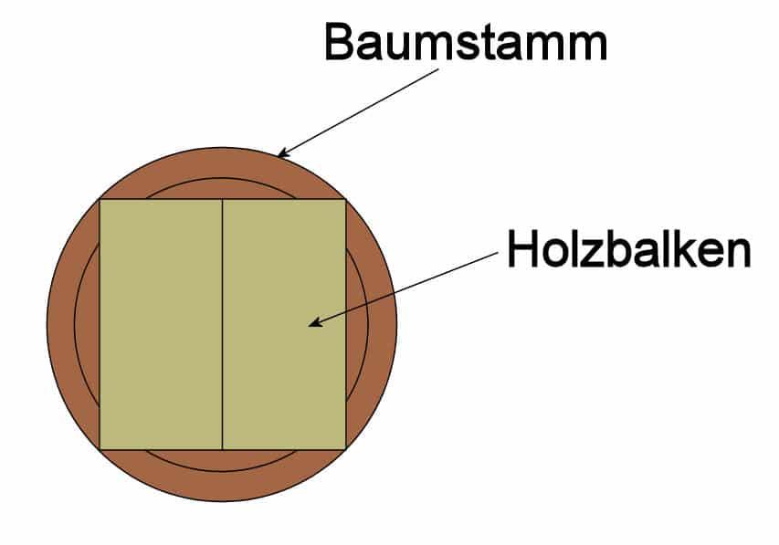 Konstruktionsvollholz: Einschnitt entlang der Markröhre
