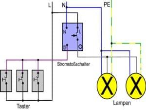 Stromstoßschalter Schaltung mit Schaltplan