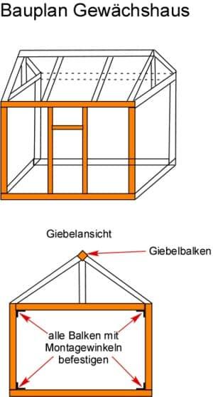 Bauplan Gewächshaus aus Holz